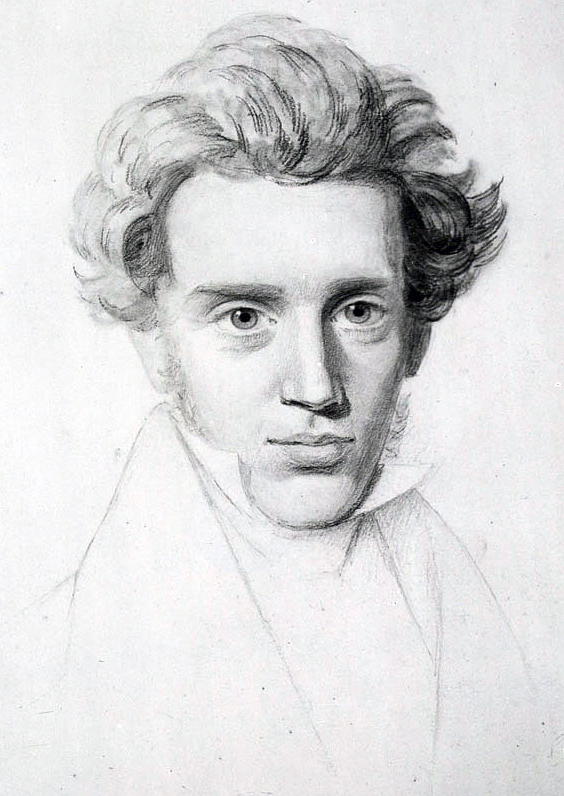 Black and white sketch of Kierkegaard in his youth