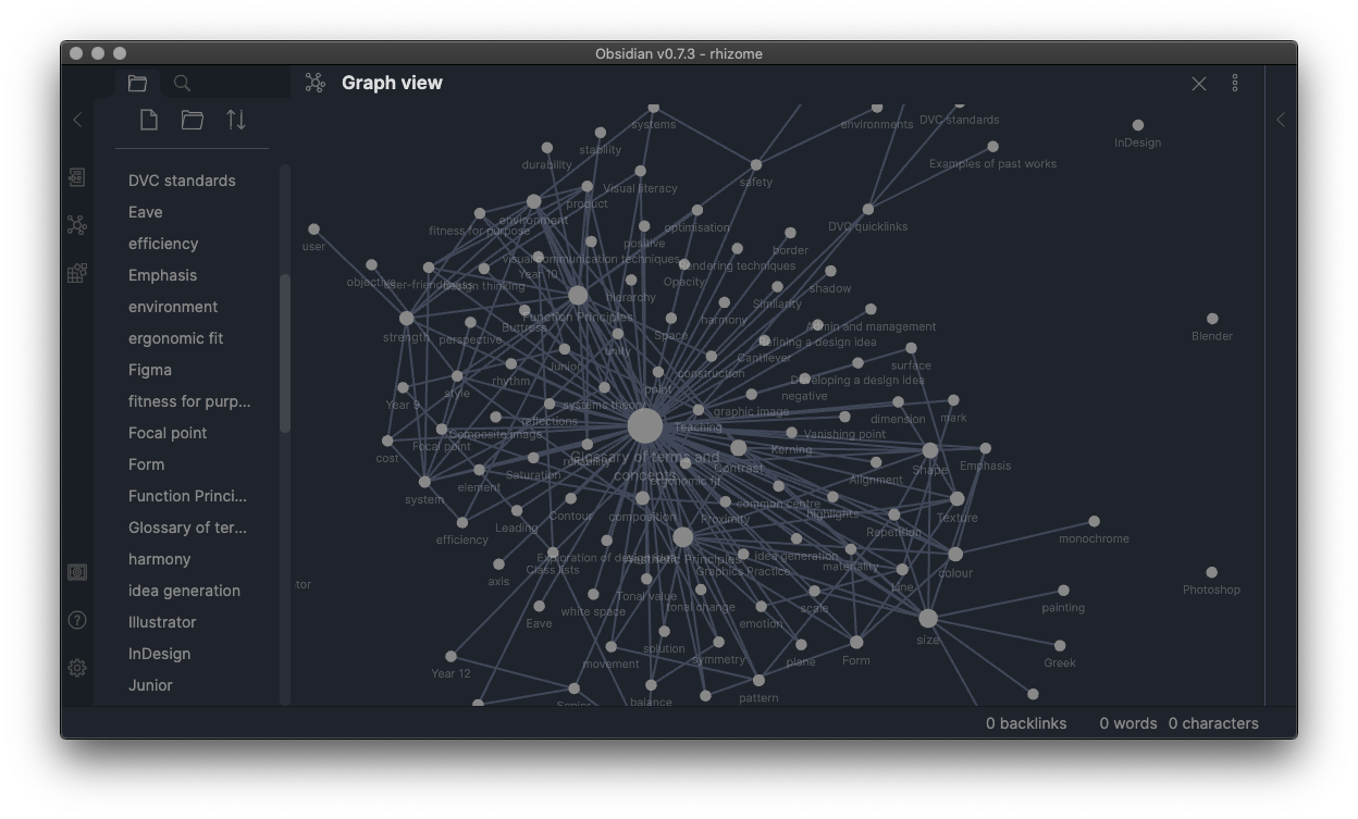 Obsidian in graph mode, showing connections like a spider web